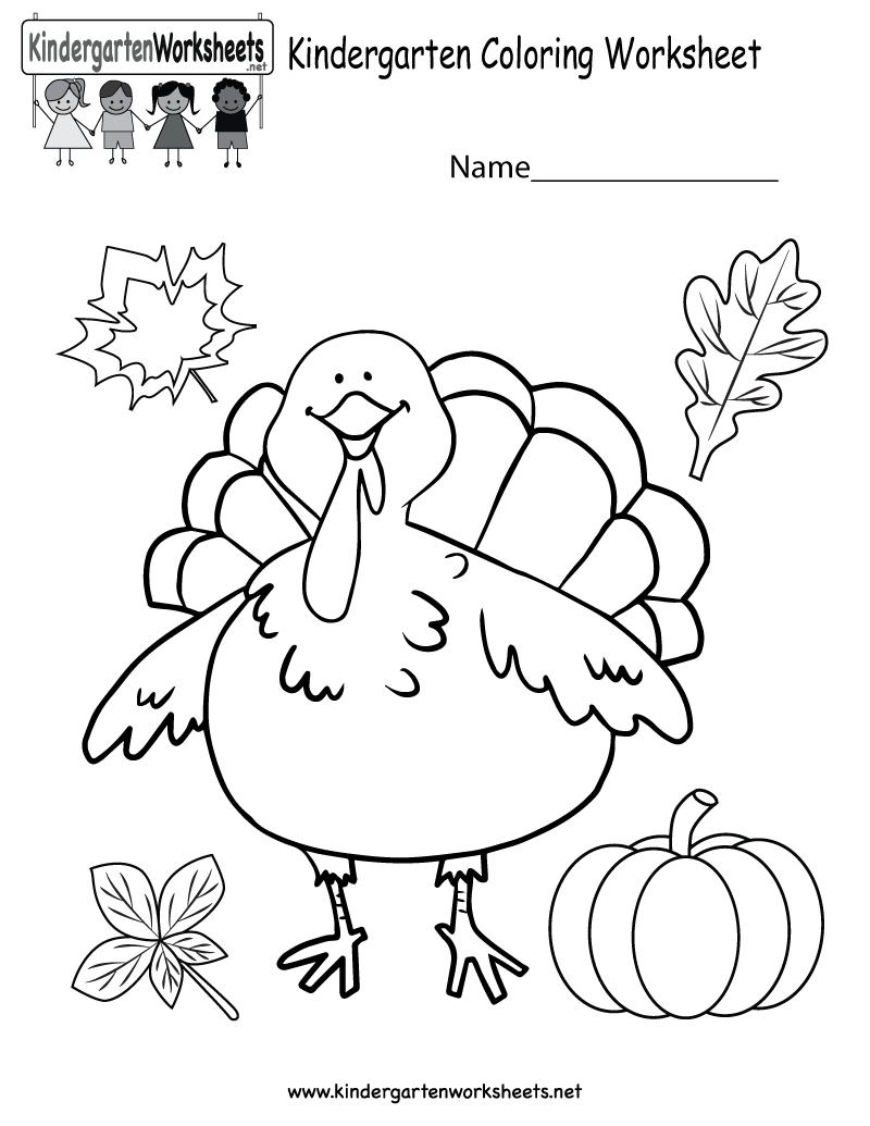 Kindergarten Thanksgiving Coloring Worksheet Printable