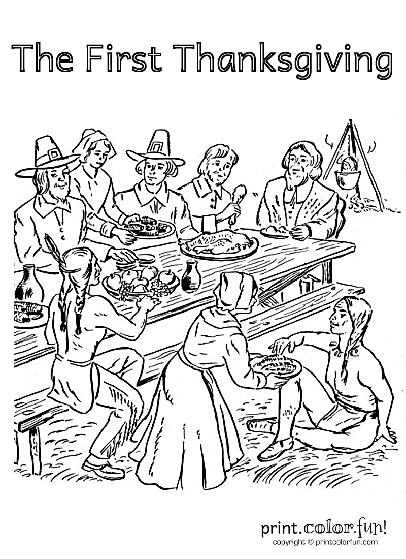 This First Thanksgiving Coloring Page — Featuring The