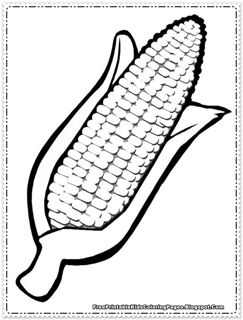 Corn Coloring Pages Printable | Thanksgiving | Coloring
