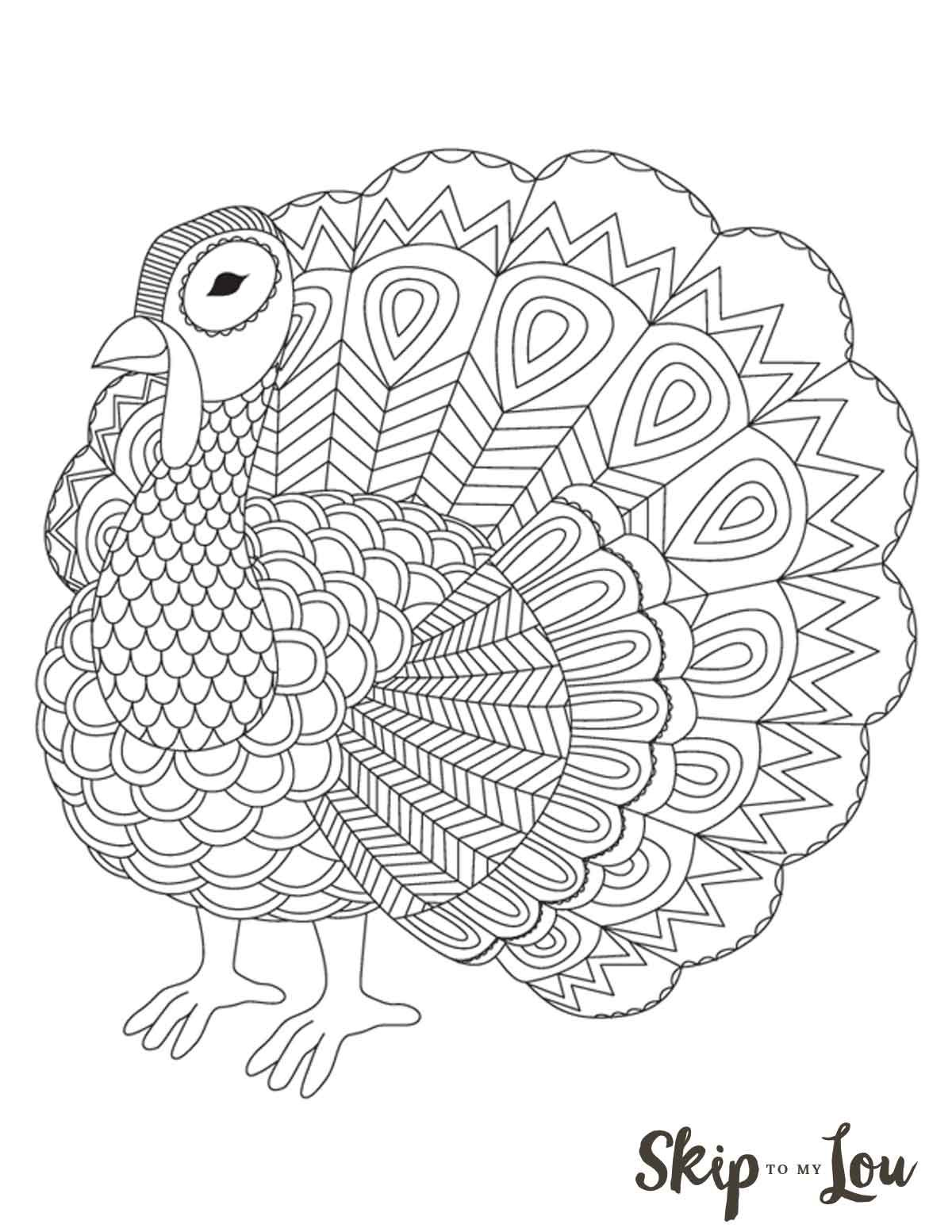 The Cutest Free Turkey Coloring Pages | Skip To My Lou Free