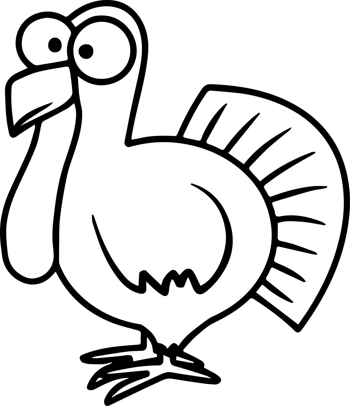 Turkey Cartoon Coloring Pages | Wecoloringpage | Easy