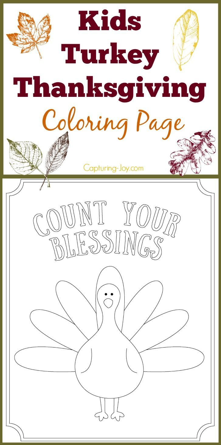 Kids Turkey Thanksgiving Coloring Page: Count Your Blessings