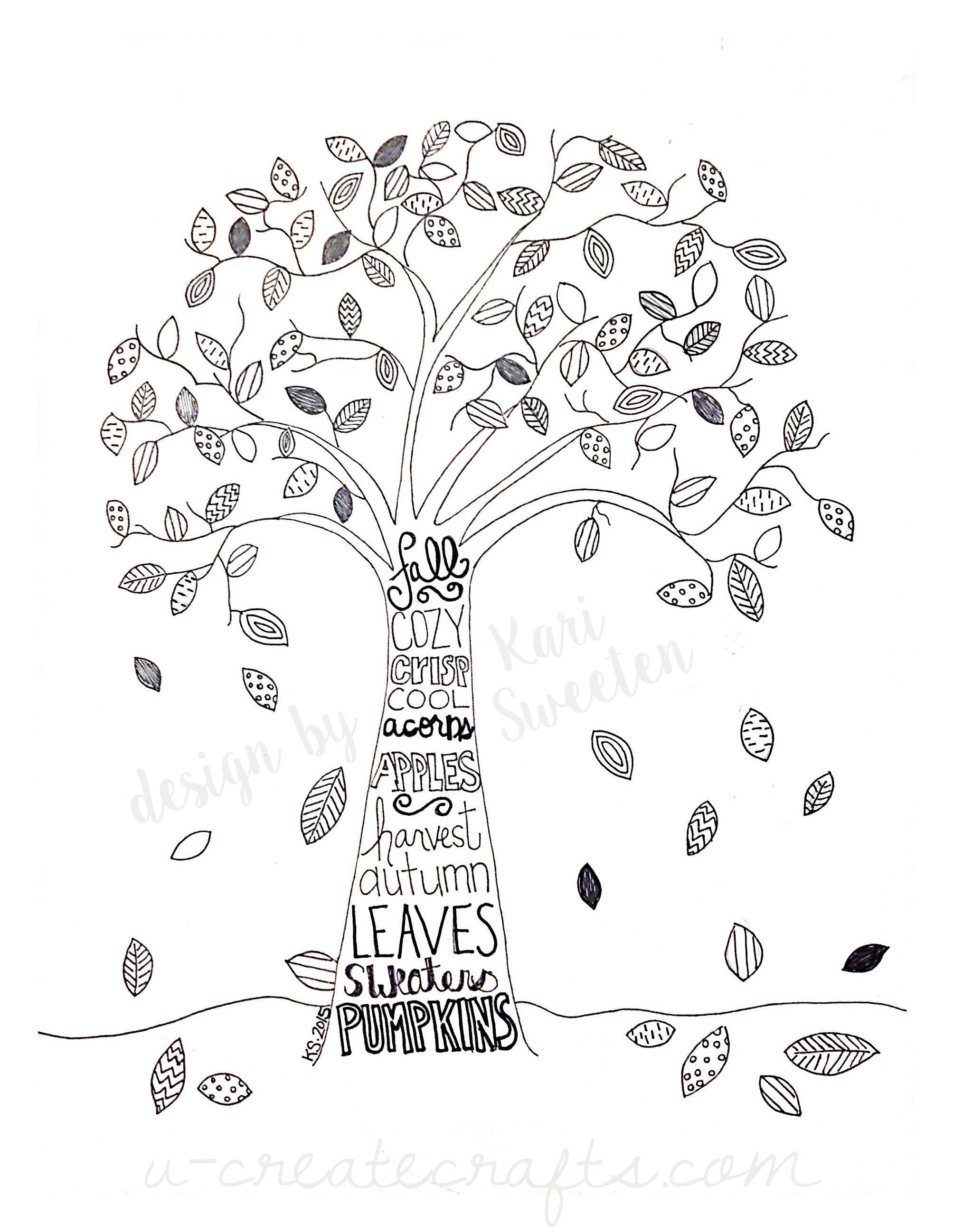 Free Fall Tree Pattern | Bloggers Best | Fall Coloring Pages