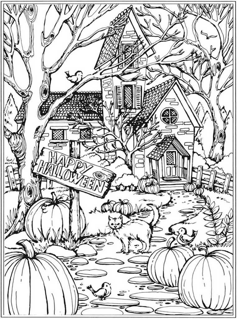 Autumn Scenes Coloring Book Sample 01 | Fall Coloring Pages