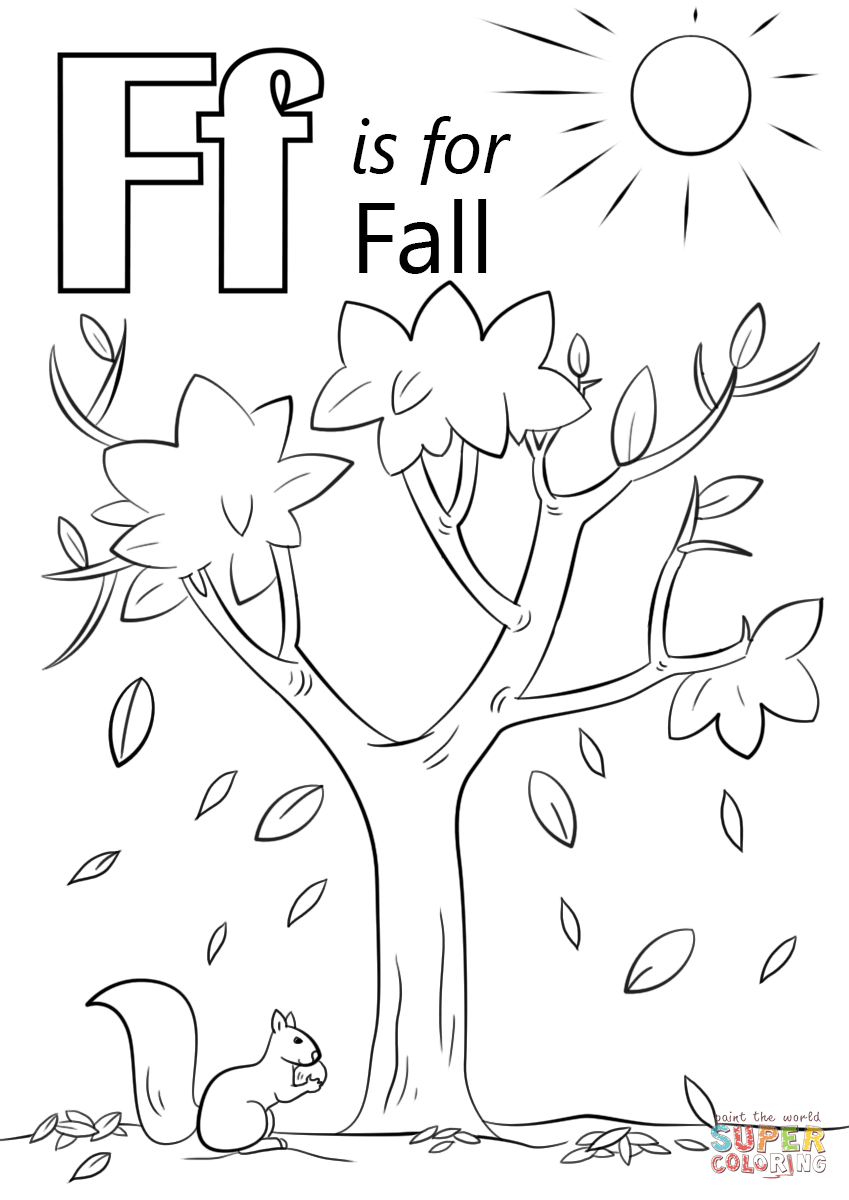 Letter F Is For Fall Coloring Page | Free Printable Coloring