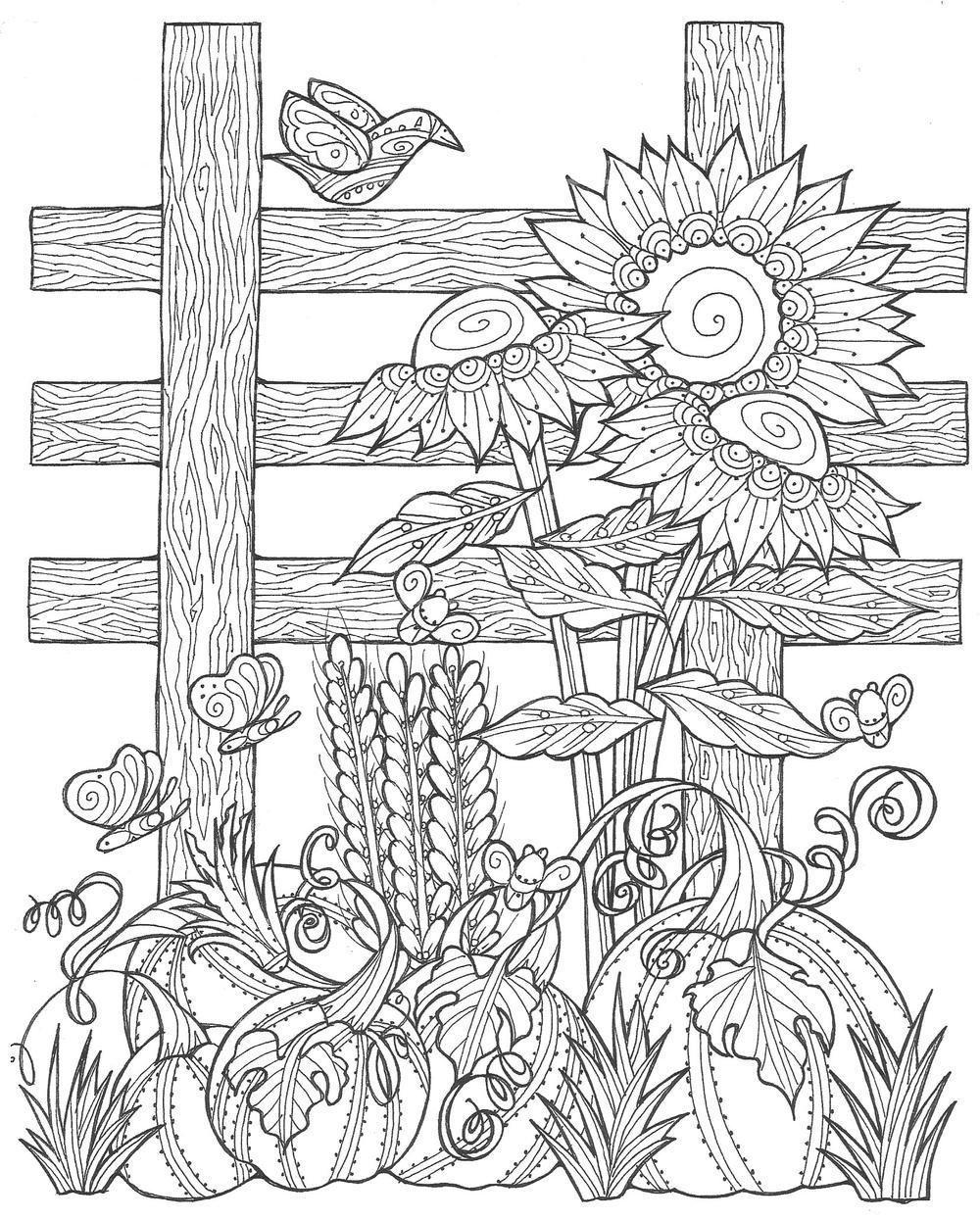 Sunflower Pumpkin Patch Coloring Page | Free Adult Coloring