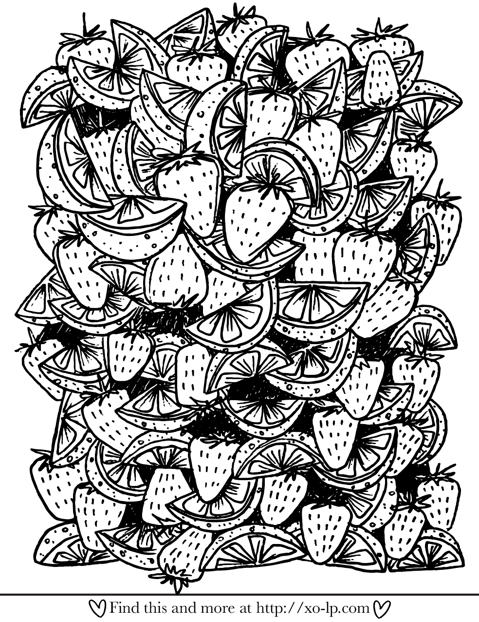 Fancy Fruit Printable Coloring Page | Printable Coloring