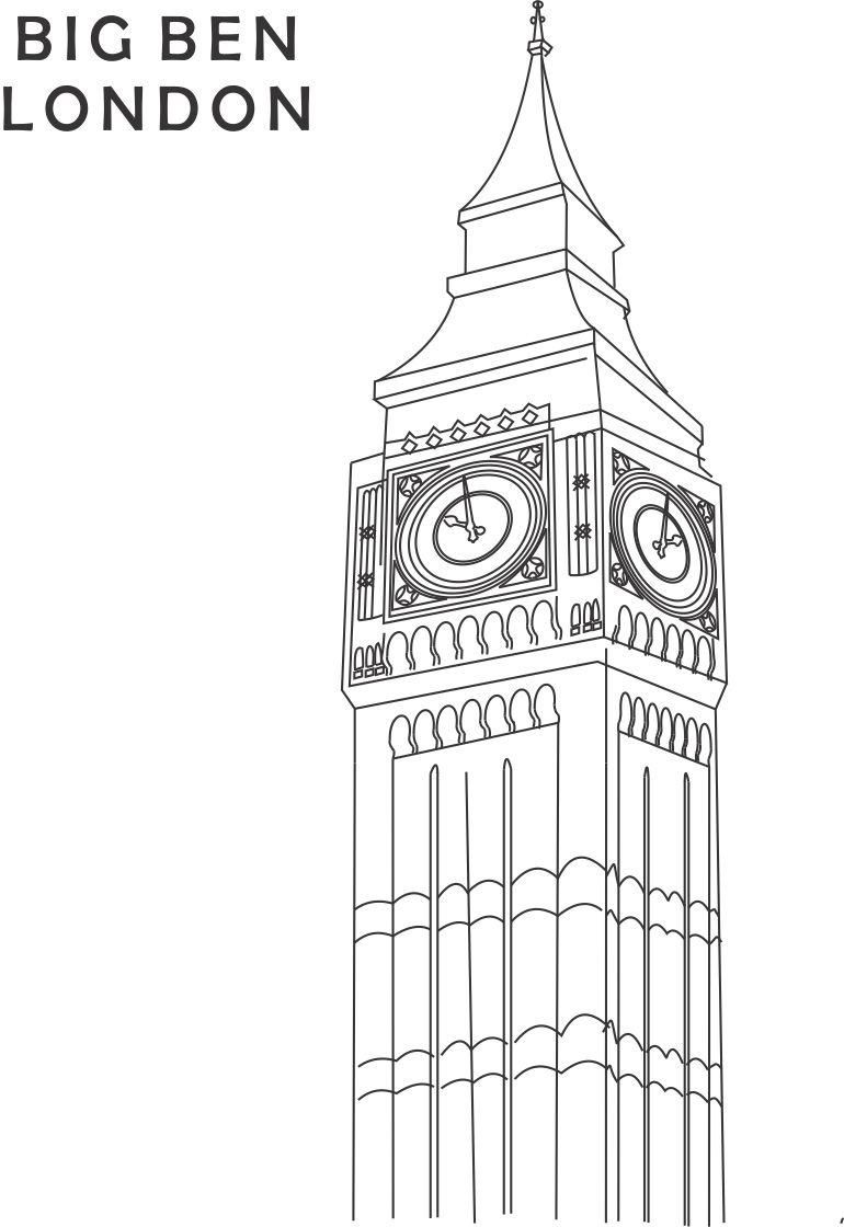 Big Ben Coloring Printable Page For Kids 1   Geography