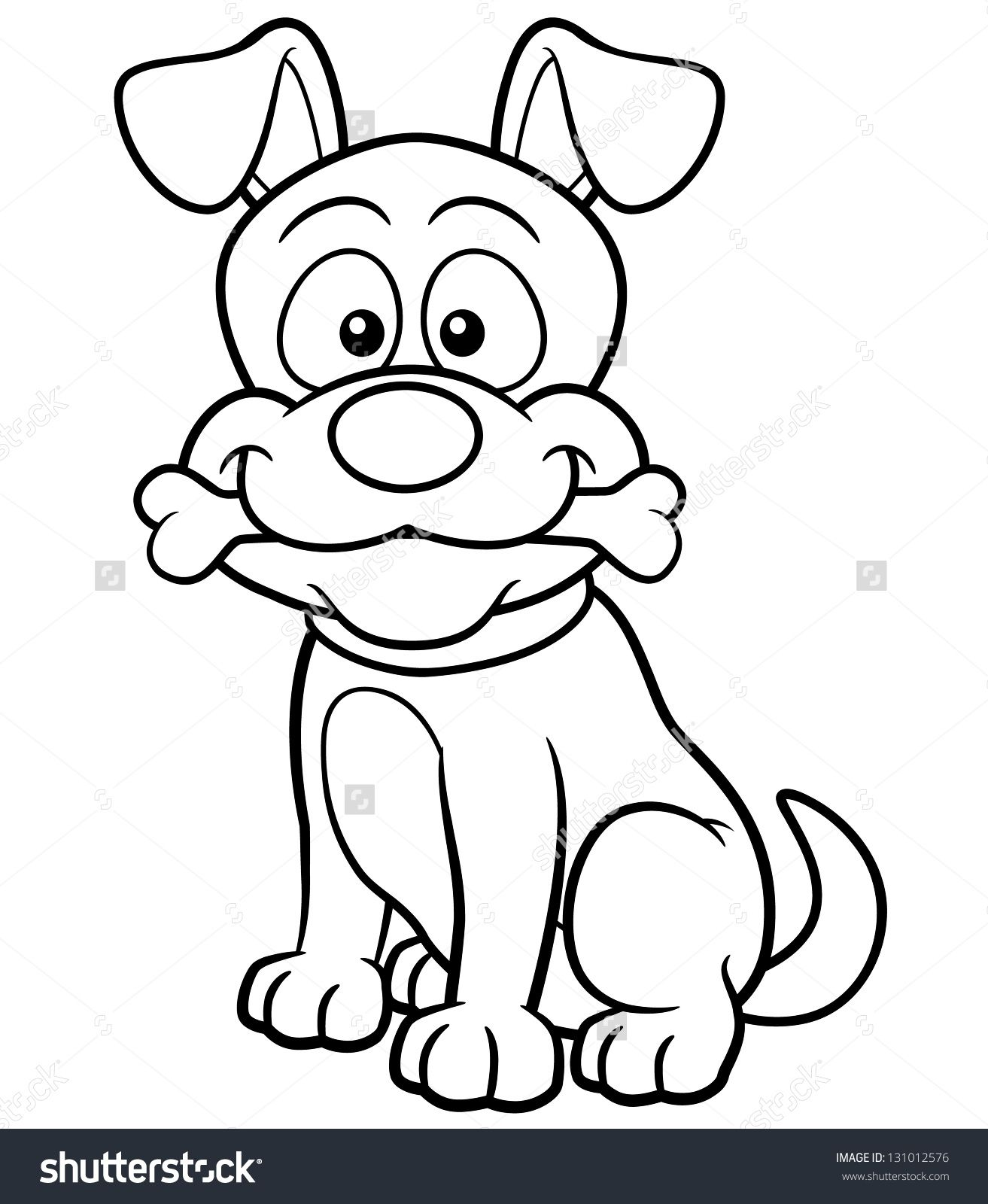 Vector Illustration Of Cartoon Dog - Coloring Book   Dogs