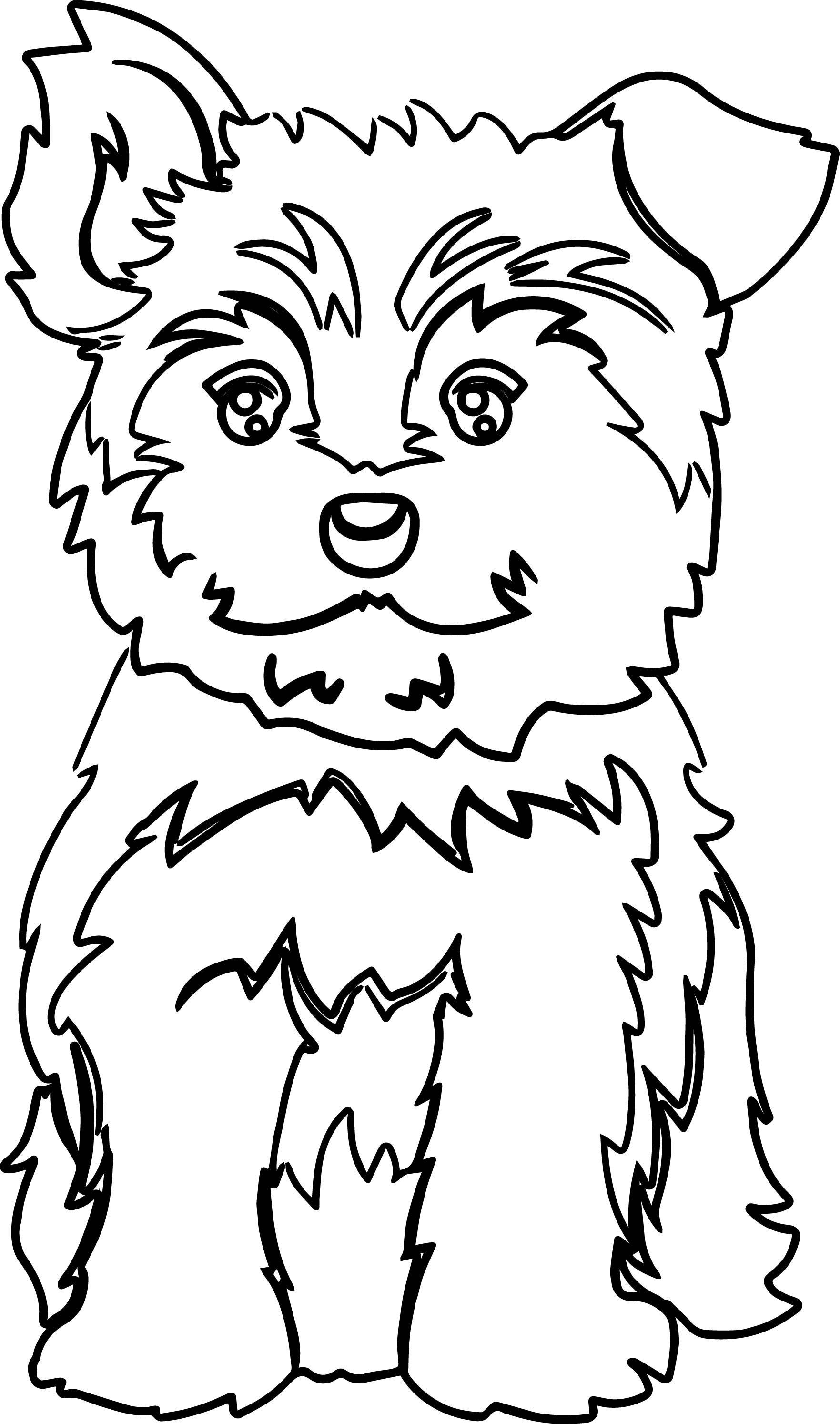 Cool Yorkie Puppy Color Dog Puppy Coloring Page