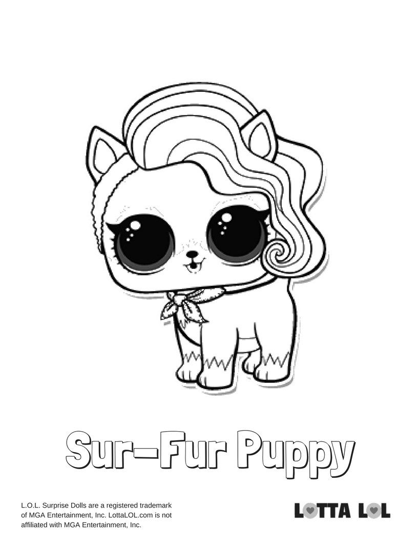 Sur-fur Puppy Coloring Page Lotta Lol   Lol Surprise! Series