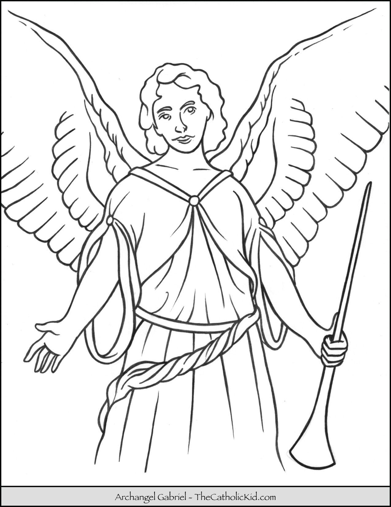 Archangel Gabriel Coloring Page Feastday: September 29