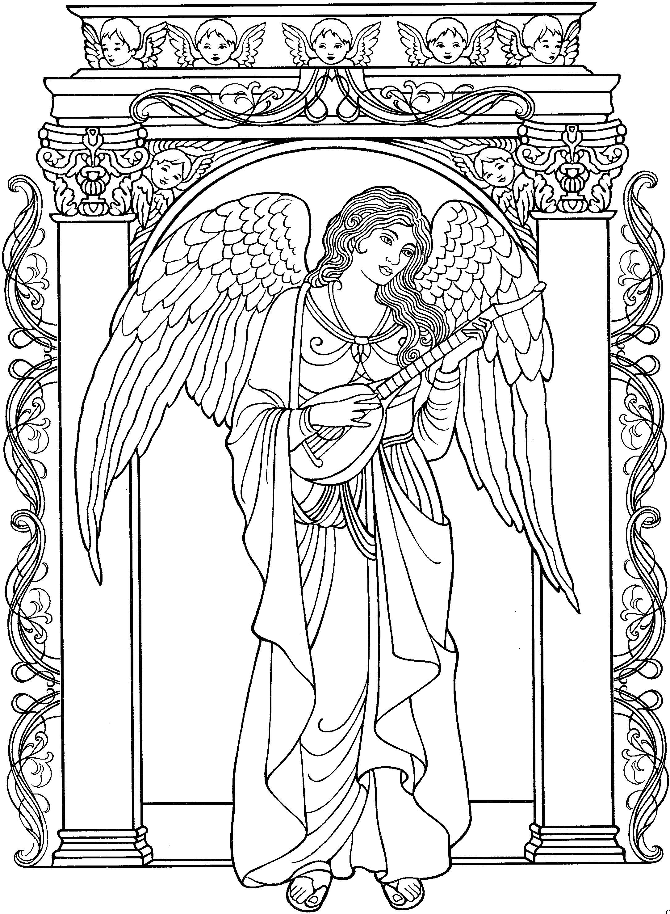 Beautiful Angel Coloring Page   Line Art   Angel Coloring