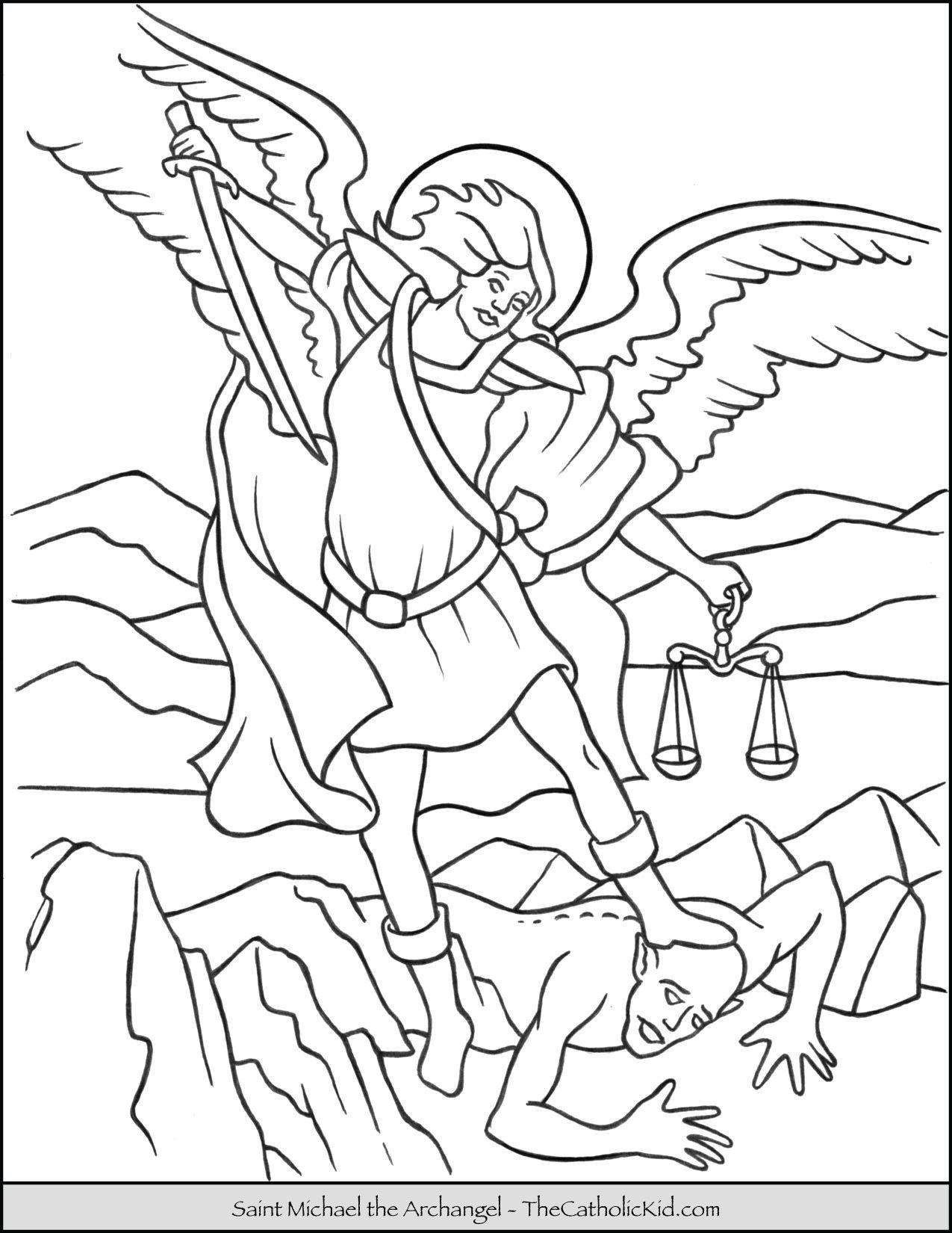 Saint Michael Archangel Coloring Page   Catholic Coloring