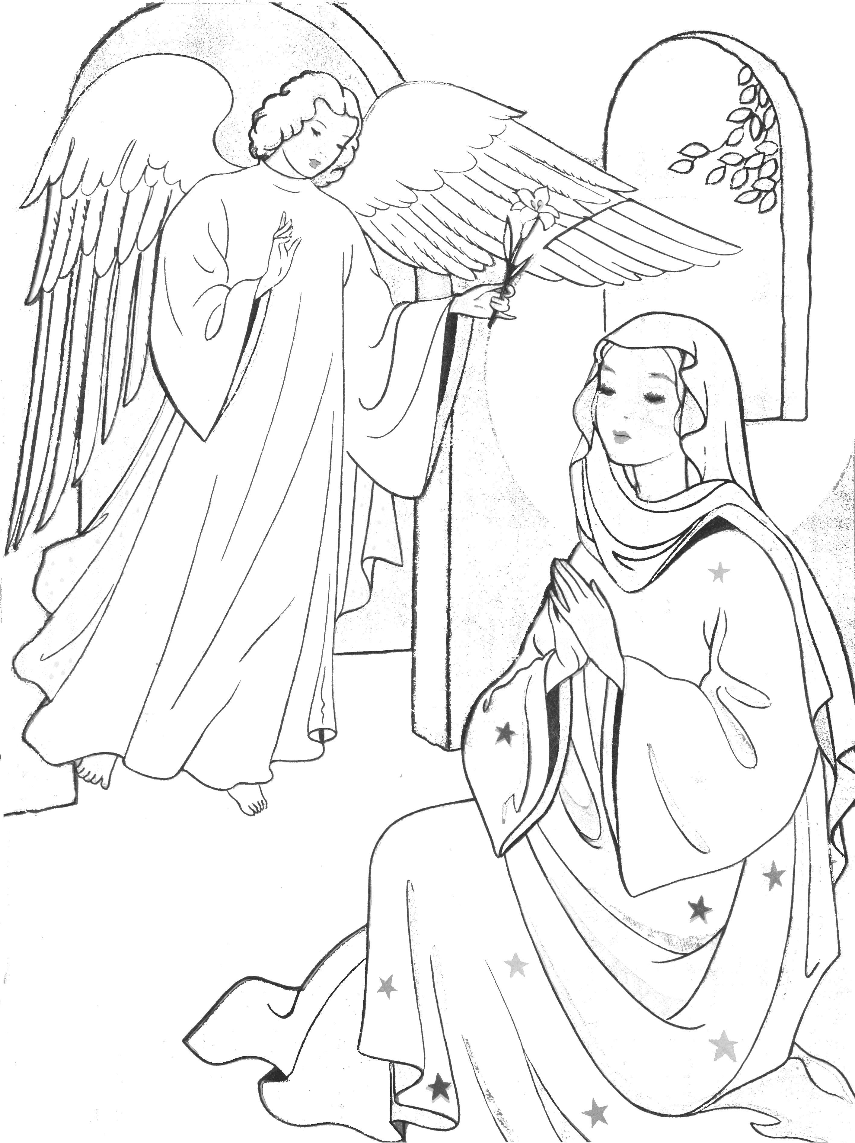 Annunciation Coloring Pages   Celebrate March   Nativity