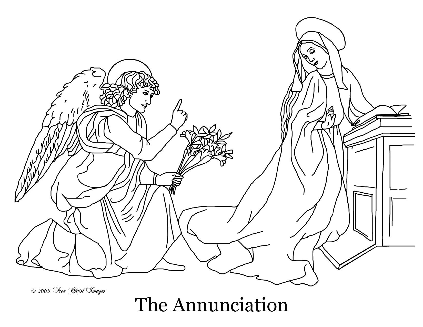 Coloring Page Of The Annunciation | Catholic Faith Formation