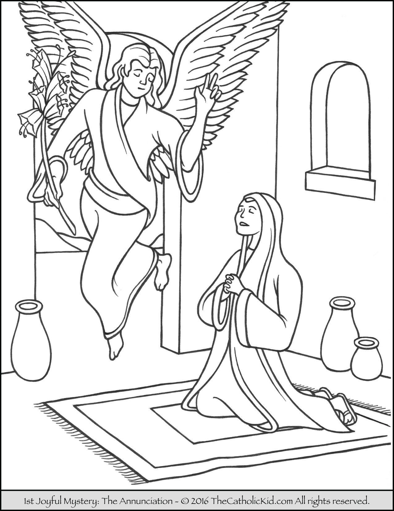 The 1st Joyful Mystery Coloring Page - Annunciation | Joyful