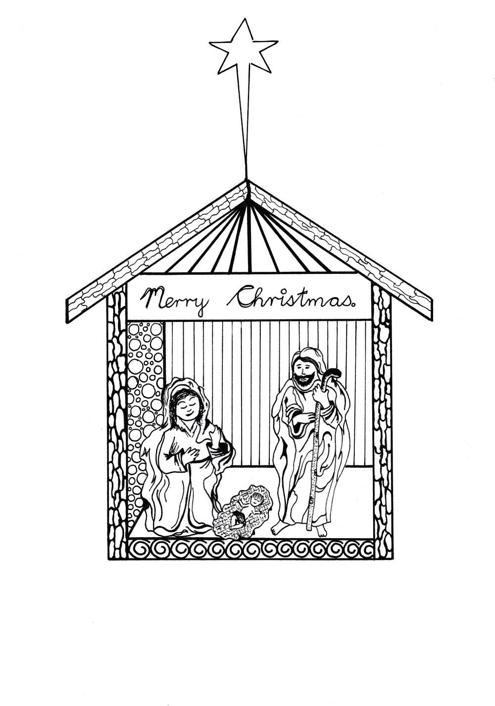 Free Printable Nativity Scene Coloring Pages   Adult
