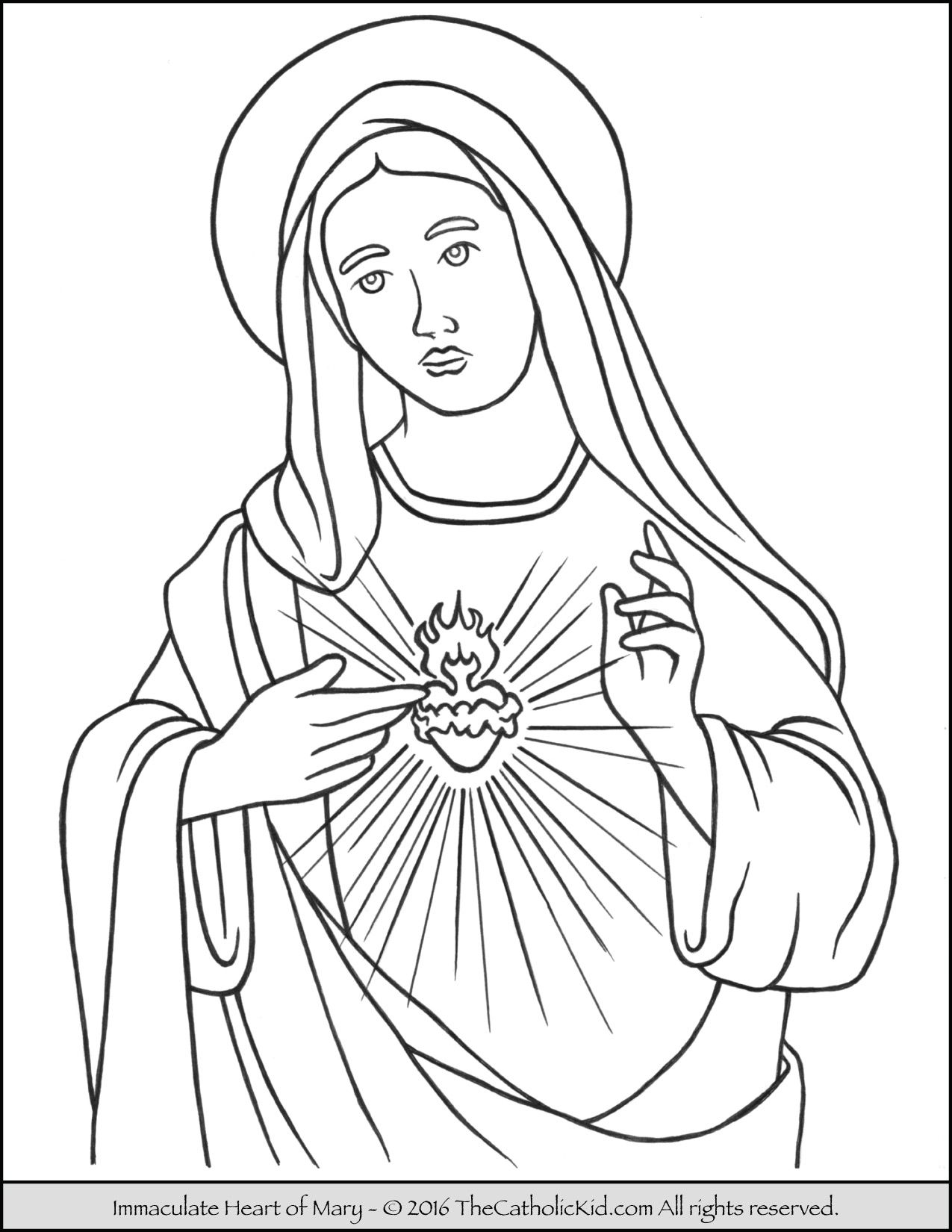 Immaculate Heart Of Mary Coloring Page   Mary Coloring Pages