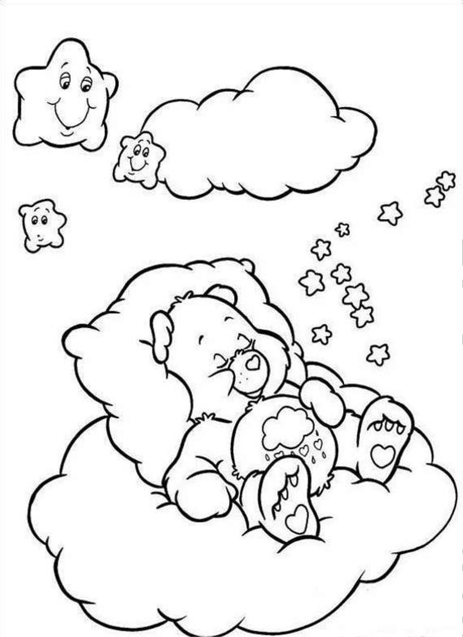 Sleeping Coloring Pages   Care Bears Sleeping On Cloud