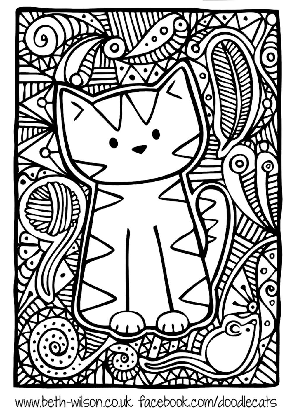Free Coloring Page Coloring-adult-difficult-cute-cat Cute