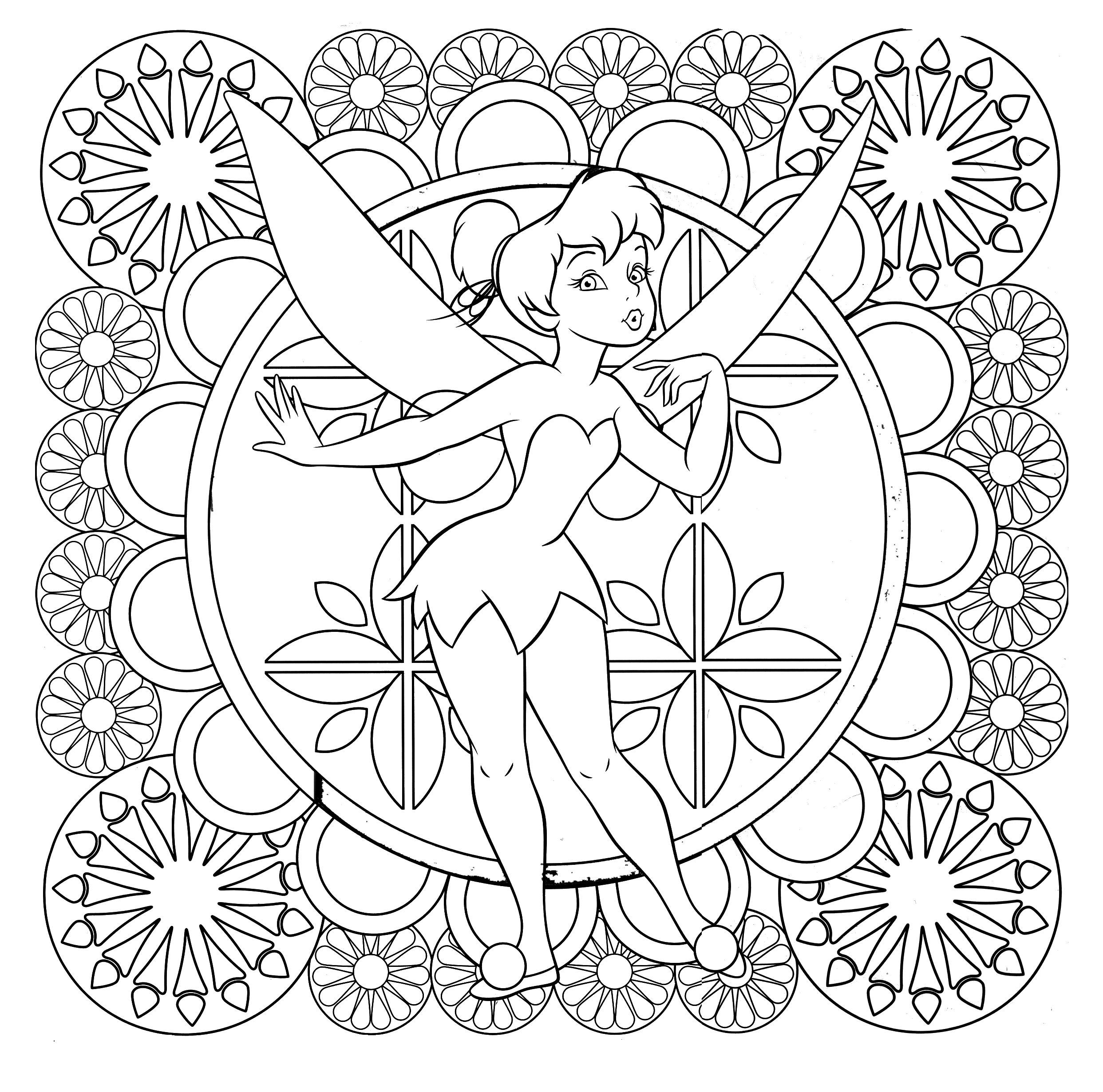 Tinkerbell Difficult Coloring Page   Adult Coloring Pages