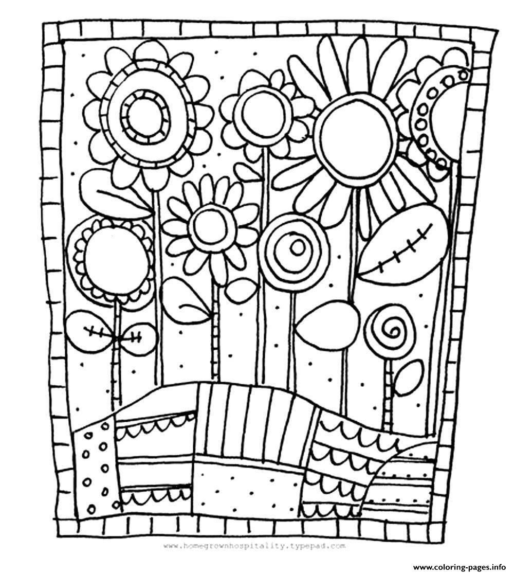 Coloring Pages] : Print Adult Simple Flowers Coloring Pages