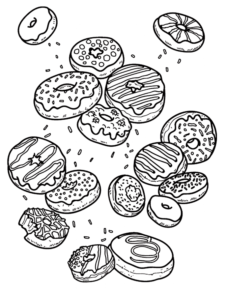 Donut Coloring Pages – Coloringrocks! | Food Coloring Pages