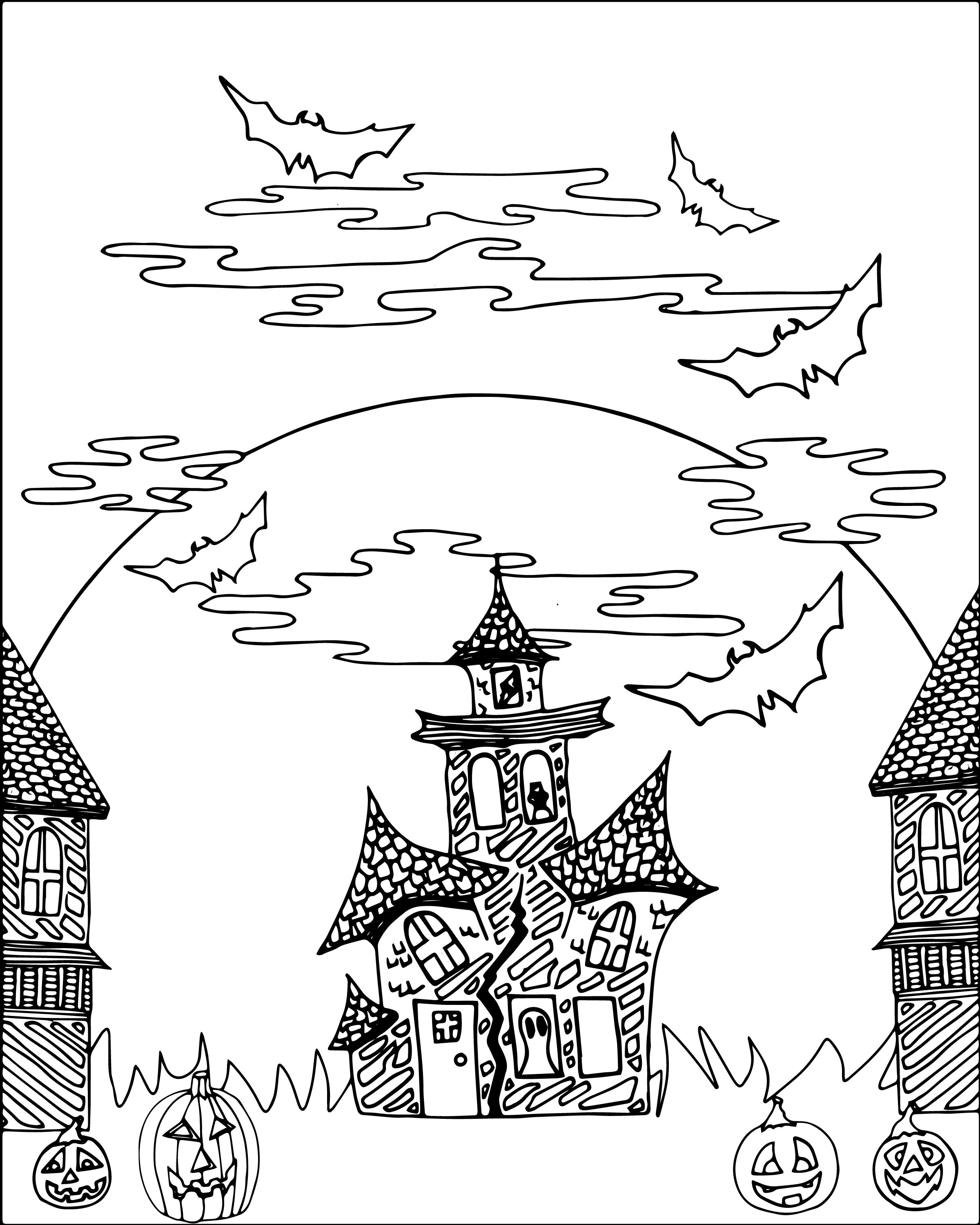 Free Halloween Haunted Castle Adult Coloring Sheet   Free