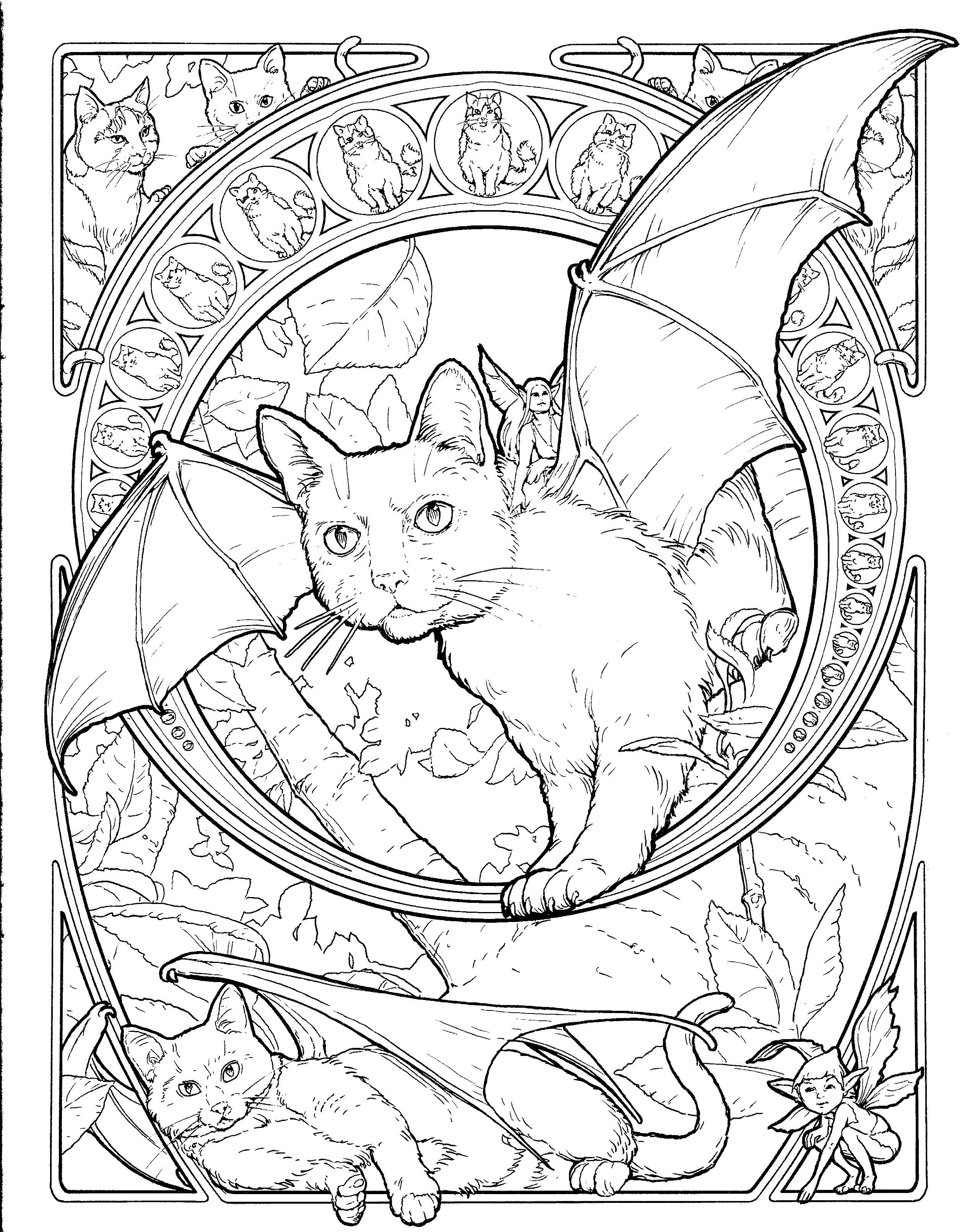Fantasy Cat Coloring Page | Free Printables | Cat Coloring