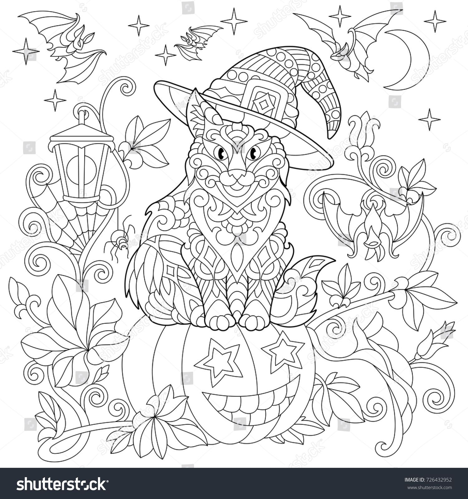 Halloween Coloring Page Cat In A Hat, Halloween Pumpkin