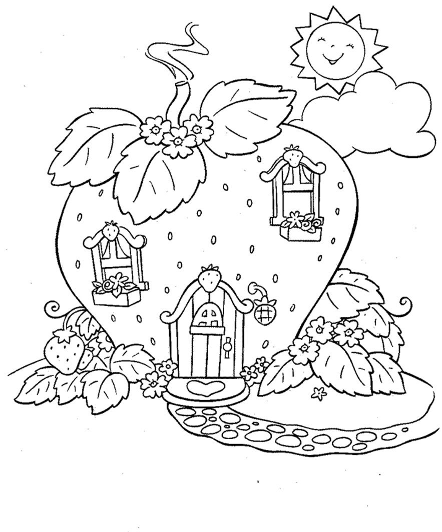 Strawberry Shortcake House Coloring Page | Coloring Pages