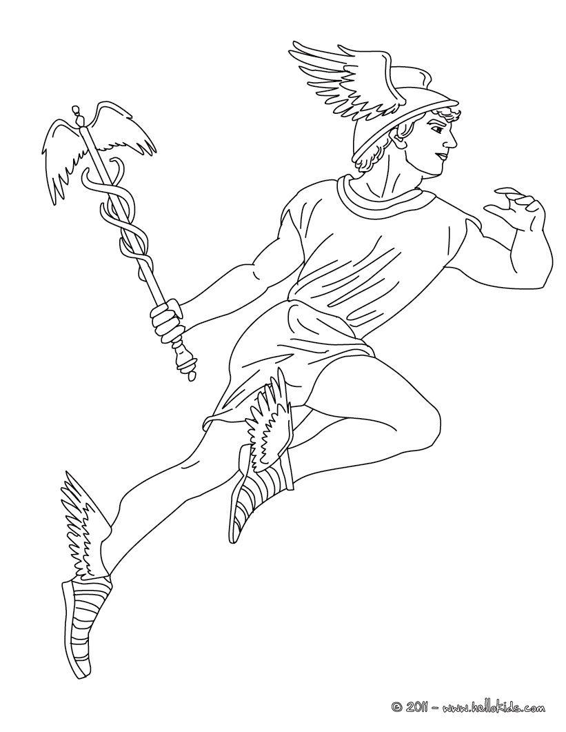 Hermes The Greek God Of Herds Coloring Page | Walking Group