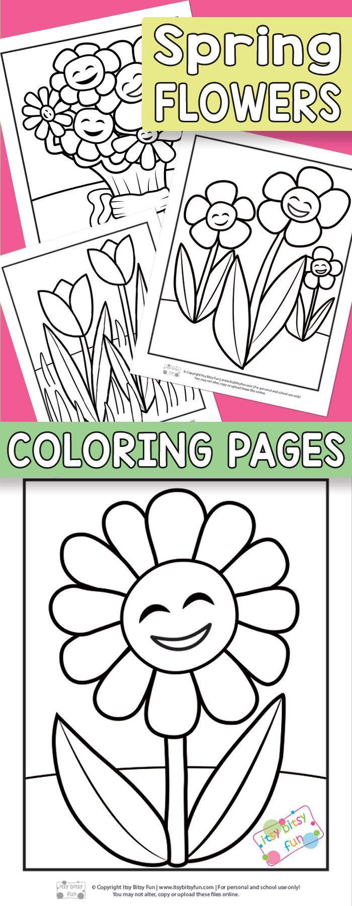 Flower Coloring Pages For Kids | Spring | Spring Crafts For