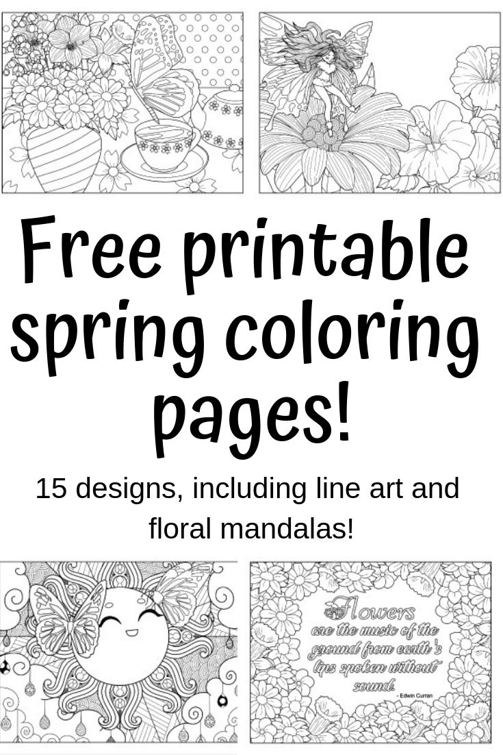 Spring Coloring Pages - Free Printable Spring Adult Coloring