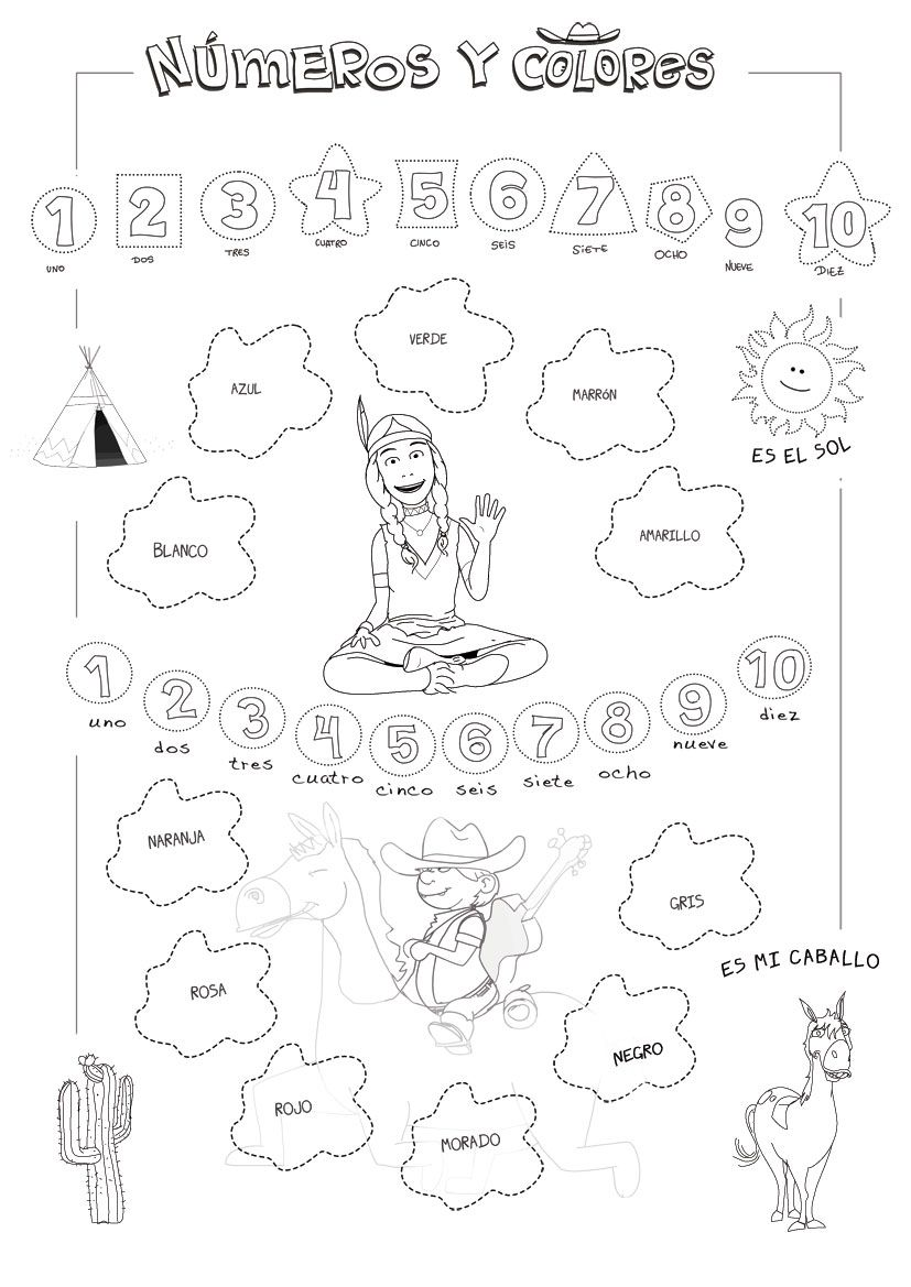Coloring Worksheet And Lyrics For Numbers And Colors In