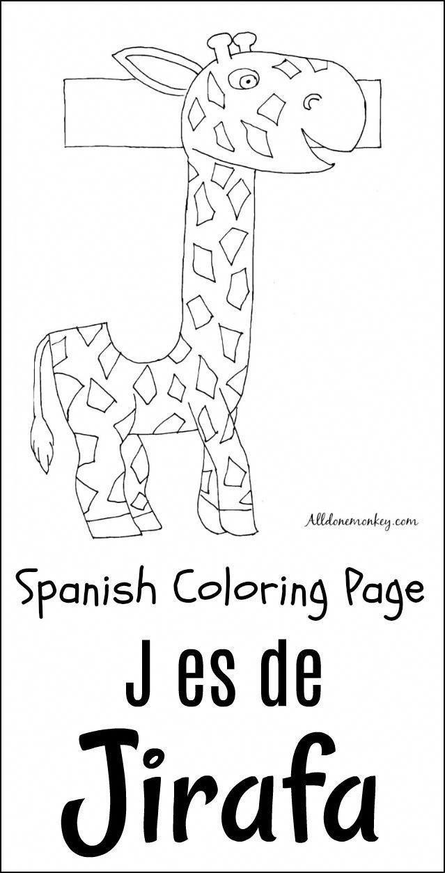 Spanish Coloring Page: J Es De Jirafa   Alldonemonkeycom