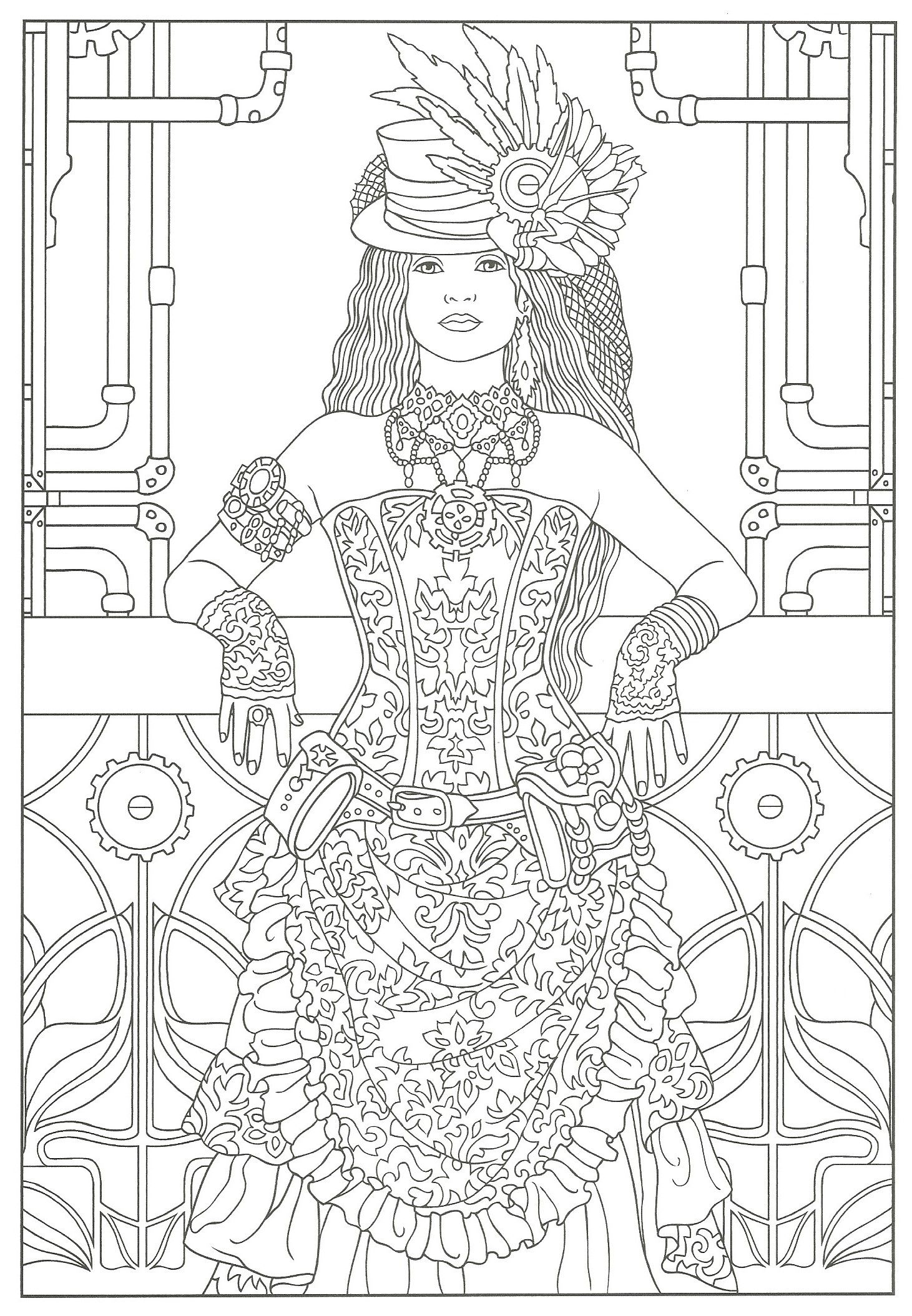 Steampunk Adult Coloring Artwork By Marty Noble Creative