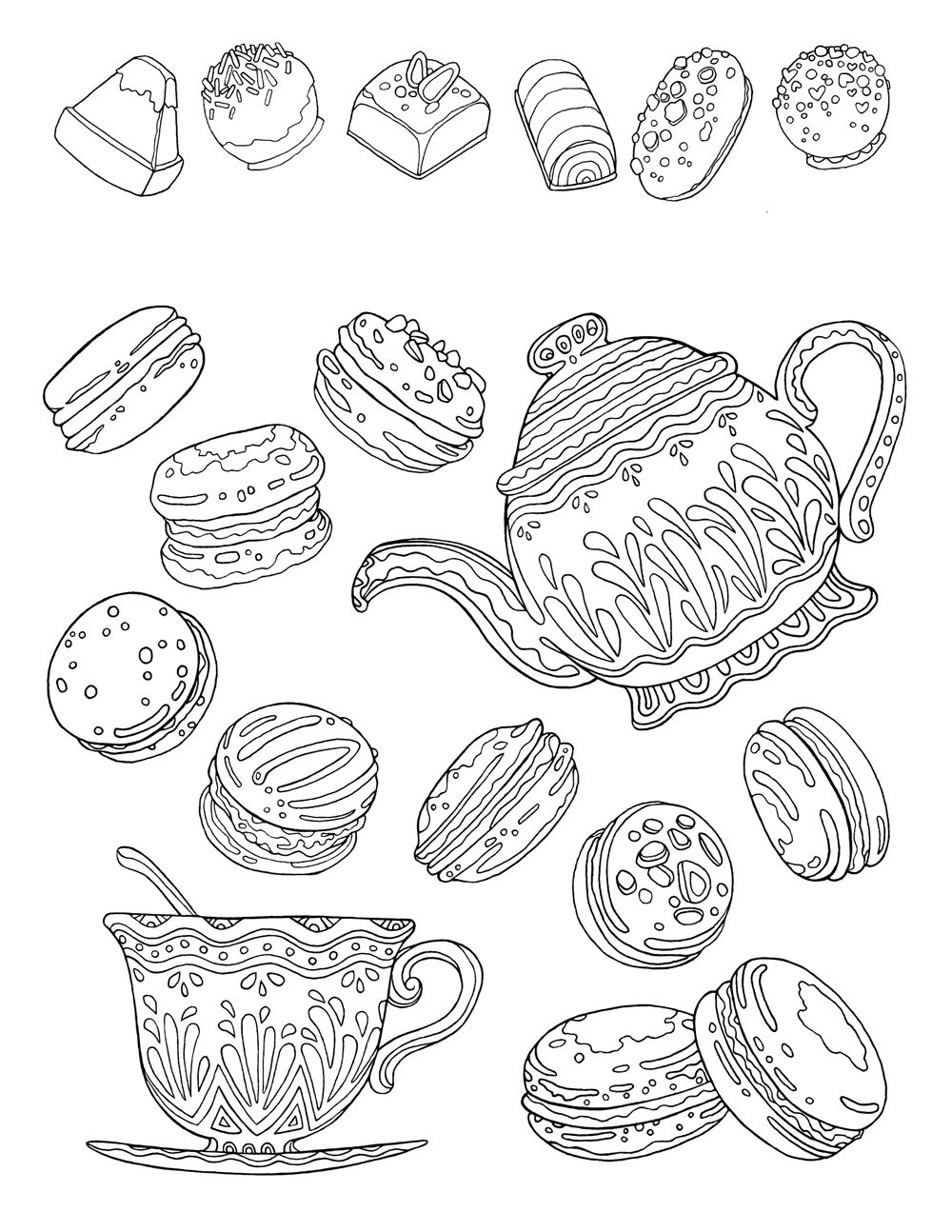 Free Printable Coloring Page For Adults, Hand Drawn 'tea
