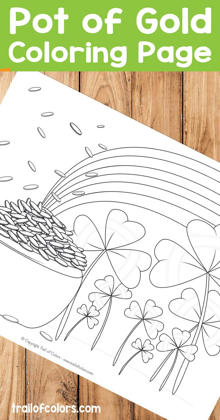 Free Pot Of Gold Coloring Page For Kids   Colouring