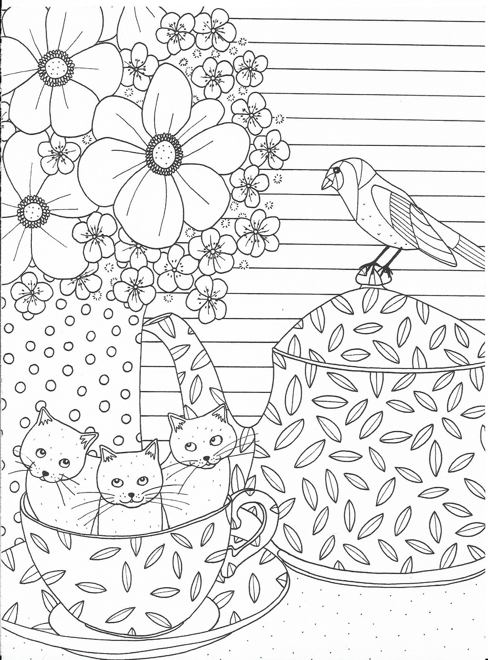 Cute Cats In A Cup Coloring Page | Paper Craft | Adult
