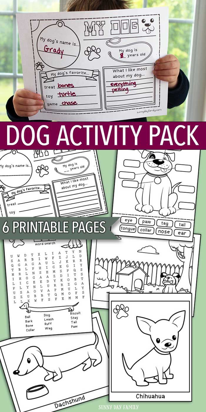 Printable Dog Activity Pack For Kids: Coloring Pages And