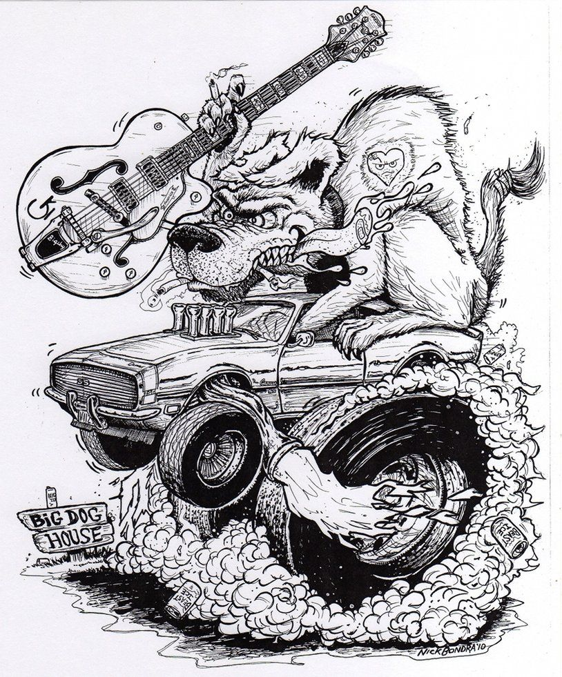 Rat Fink Coloring Pages | Dog Fink By Phraggle | Kustom