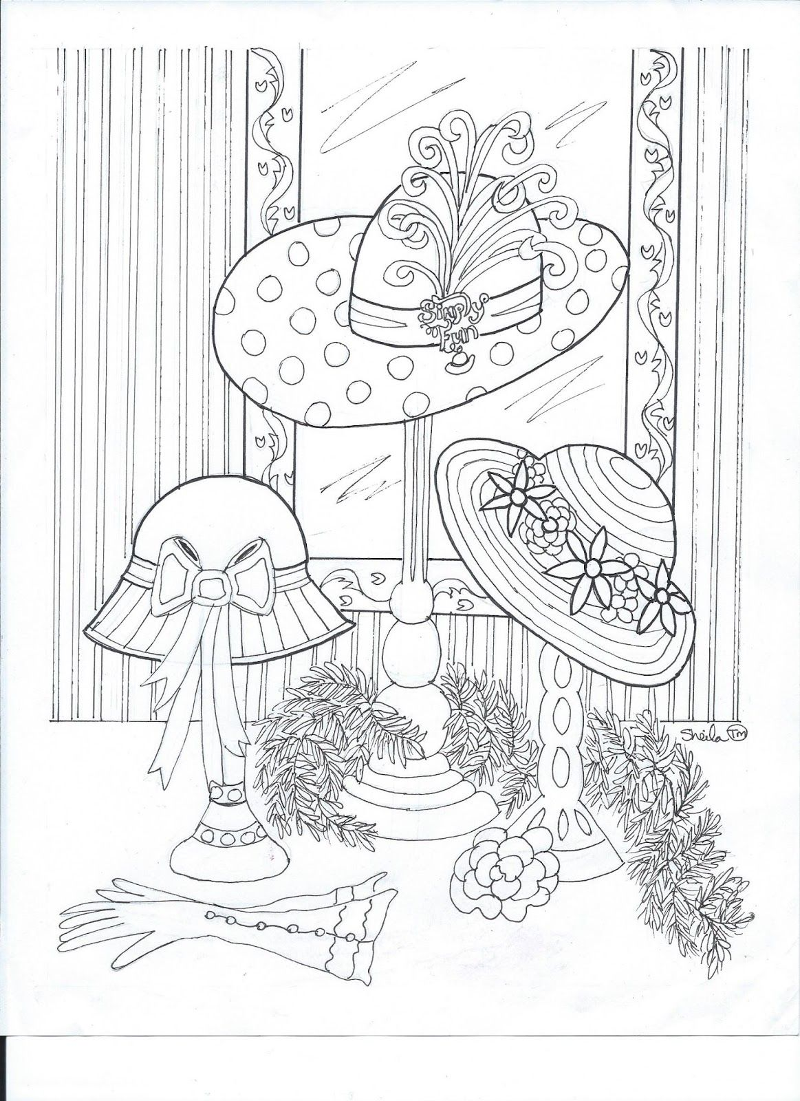 Free Printable Coloring Page With A Red Hat Theme For