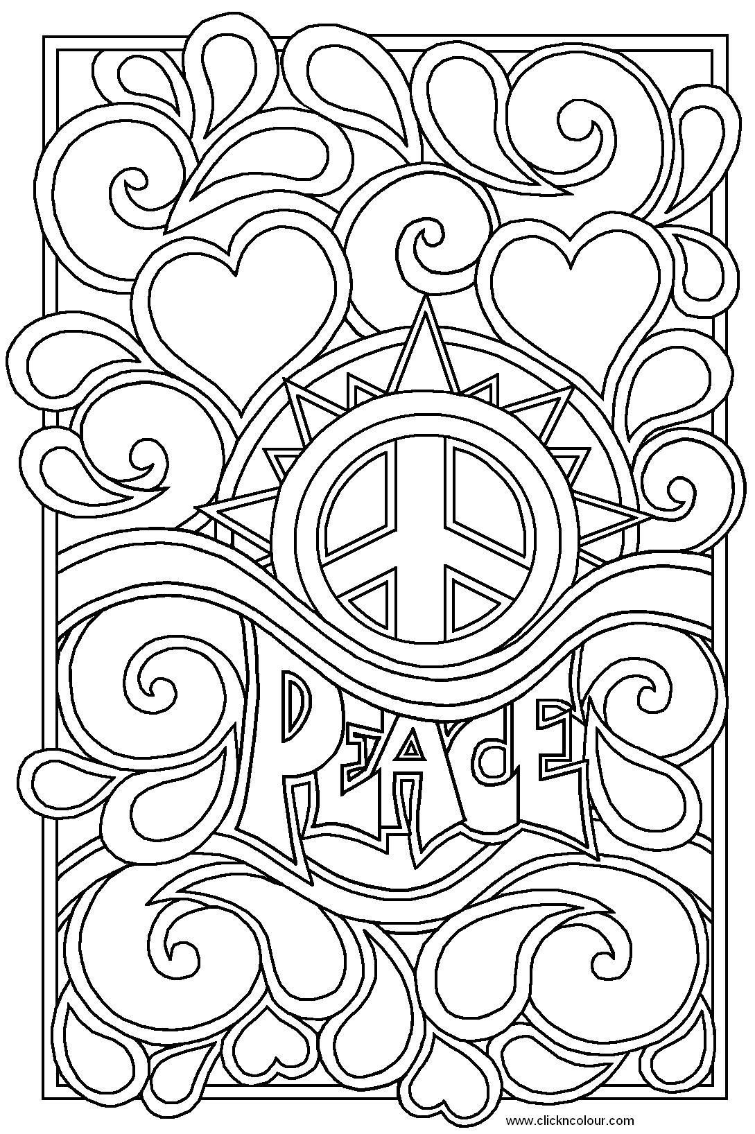 Heart Coloring Pages For Teenagers | Peace And Love