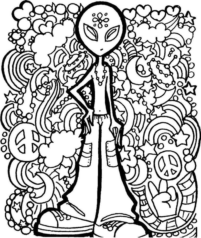 Alien Peace Man � | Free Adult Coloring Pages, Coloring