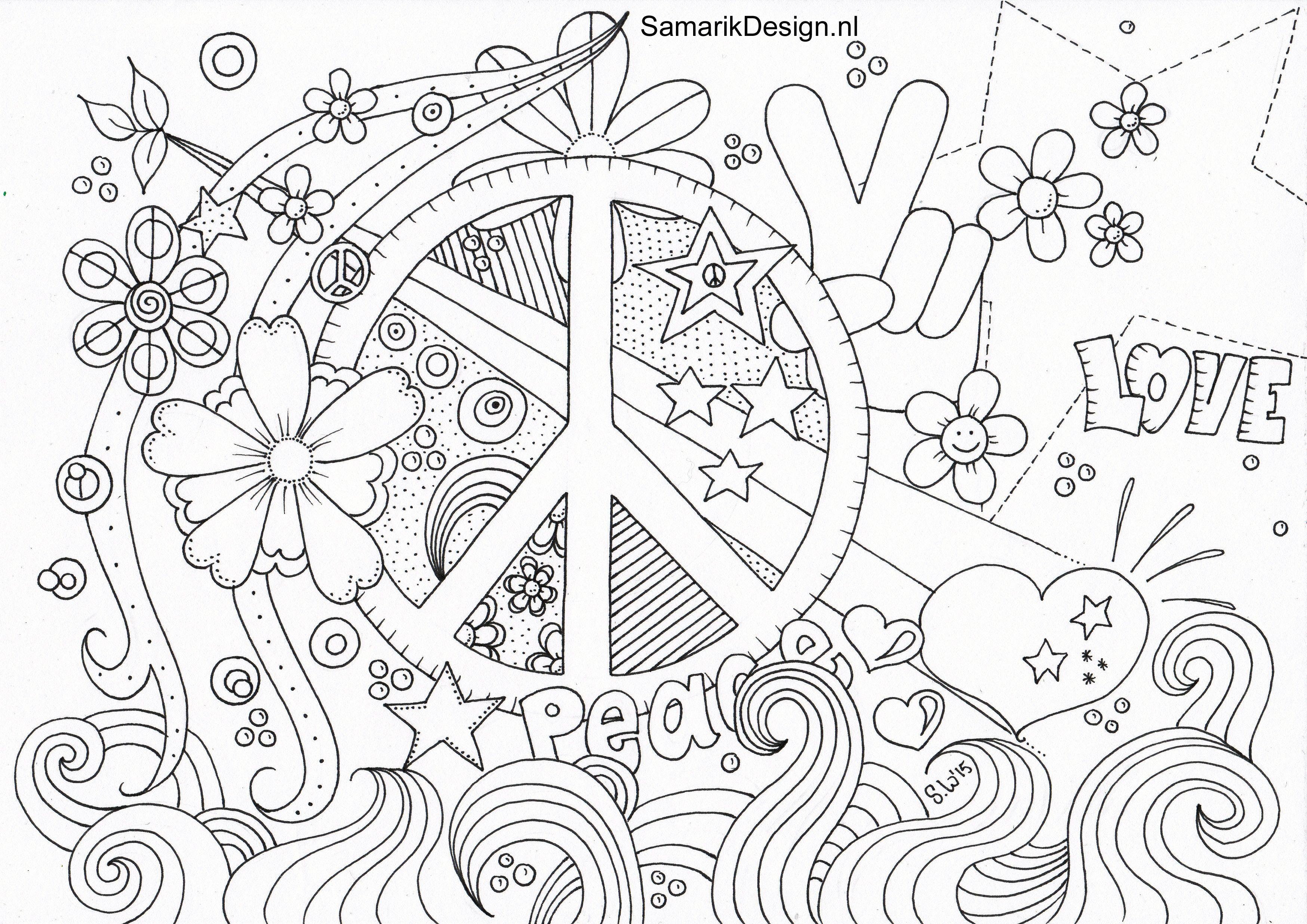 Kleurplaat Voor Volwassenen Peace | Coloring Pages | Love