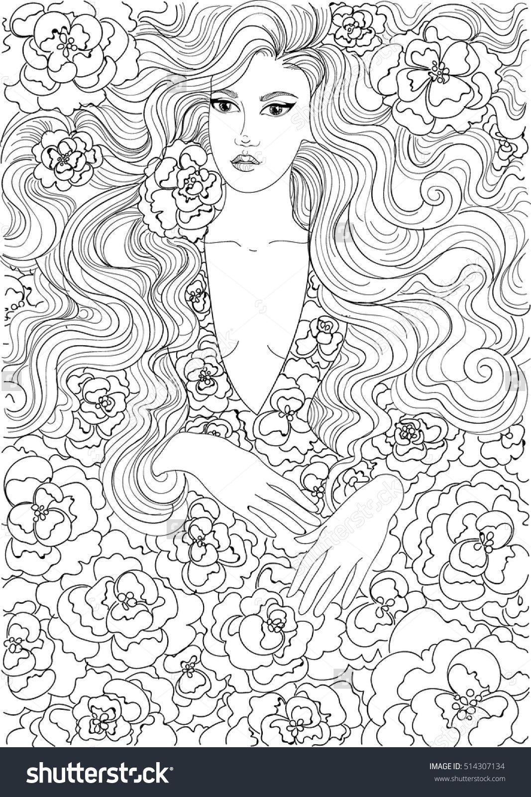 Coloring Beautiful Girl In A Flowered Dress | Pattern