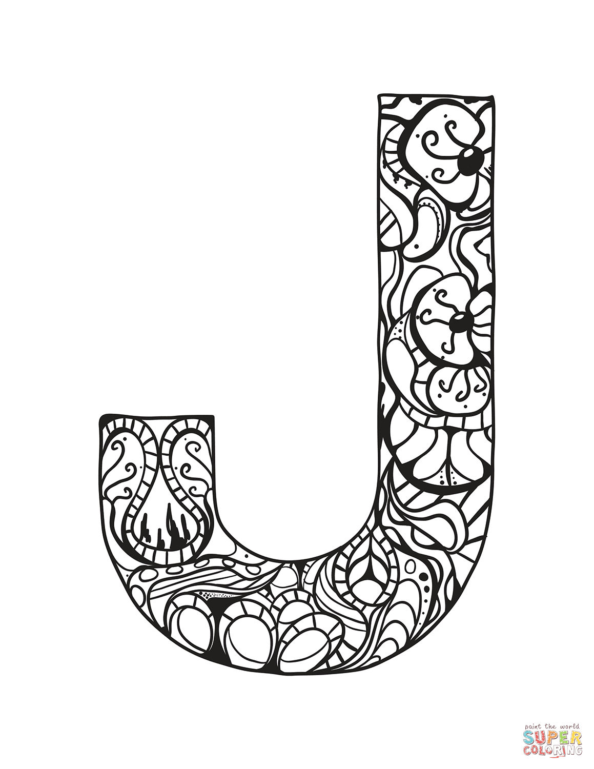 Letter J Zentangle Coloring Page | Free Printable Coloring