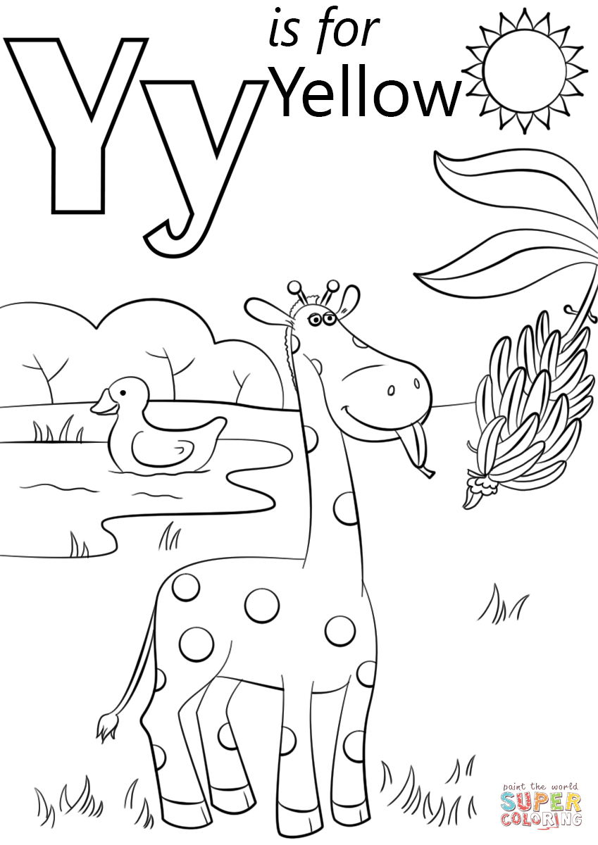Letter Y Is For Yellow Coloring Page   Free Printable